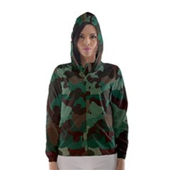 Camouflage Pattern A Completely Seamless Tile Able Background Design Hooded Wind Breaker (women) by Simbadda