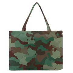 Camouflage Pattern A Completely Seamless Tile Able Background Design Medium Zipper Tote Bag by Simbadda