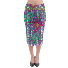 Sunny Roses In Rainy Weather Pop Art Midi Pencil Skirt by pepitasart