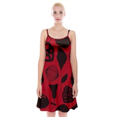 Congregation Of Floral Shades Pattern Spaghetti Strap Velvet Dress by Simbadda