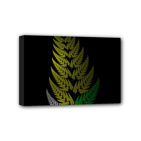 Drawing Of A Fractal Fern On Black Mini Canvas 6  X 4  by Simbadda