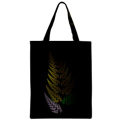 Drawing Of A Fractal Fern On Black Zipper Classic Tote Bag by Simbadda