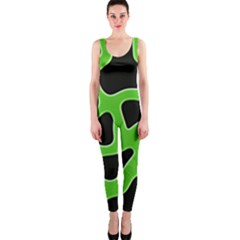 Black Green Abstract Shapes A Completely Seamless Tile Able Background Onepiece Catsuit by Simbadda
