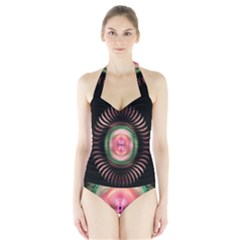 Fractal Plate Like Image In Pink Green And Other Colours Halter Swimsuit by Simbadda