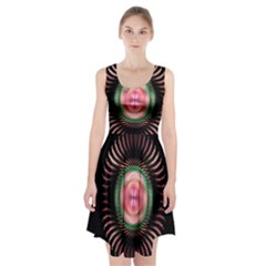 Fractal Plate Like Image In Pink Green And Other Colours Racerback Midi Dress