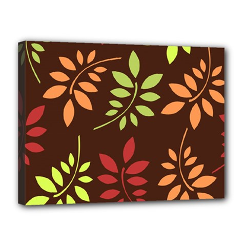 Leaves Wallpaper Pattern Seamless Autumn Colors Leaf Background Canvas 16  X 12  by Simbadda