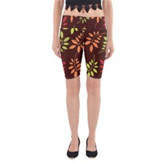 Leaves Wallpaper Pattern Seamless Autumn Colors Leaf Background Yoga Cropped Leggings