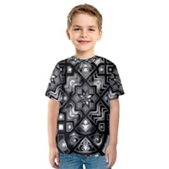 Geometric Line Art Background In Black And White Kids  Sport Mesh Tee