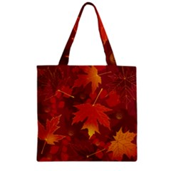 Autumn Leaves Fall Maple Zipper Grocery Tote Bag by Simbadda
