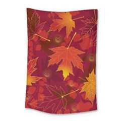 Autumn Leaves Fall Maple Small Tapestry by Simbadda