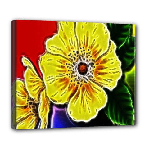 Beautiful Fractal Flower In 3d Glass Frame Deluxe Canvas 24  X 20   by Simbadda