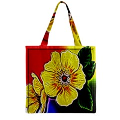 Beautiful Fractal Flower In 3d Glass Frame Grocery Tote Bag by Simbadda