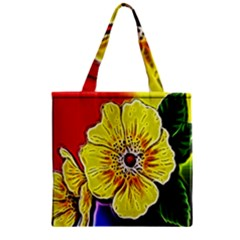 Beautiful Fractal Flower In 3d Glass Frame Zipper Grocery Tote Bag by Simbadda