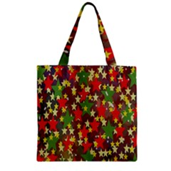 Star Abstract Multicoloured Stars Background Pattern Zipper Grocery Tote Bag by Simbadda
