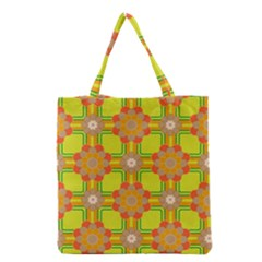 Floral Pattern Wallpaper Background Beautiful Colorful Grocery Tote Bag by Simbadda