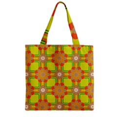 Floral Pattern Wallpaper Background Beautiful Colorful Zipper Grocery Tote Bag by Simbadda