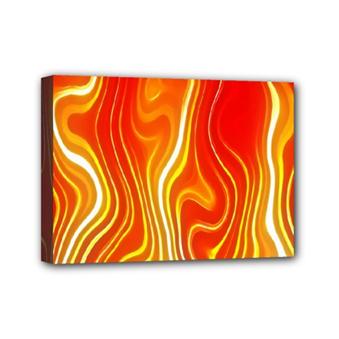 Fire Flames Abstract Background Mini Canvas 7  X 5  by Simbadda