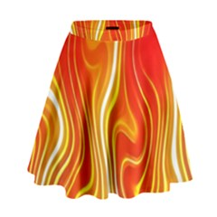 Fire Flames Abstract Background High Waist Skirt by Simbadda