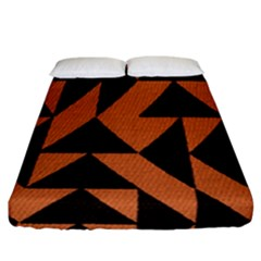 Brown Triangles Background Fitted Sheet (california King Size) by Simbadda