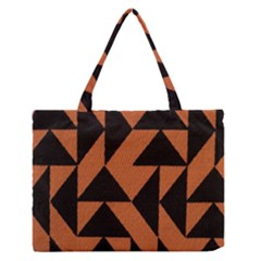 Brown Triangles Background Medium Zipper Tote Bag by Simbadda