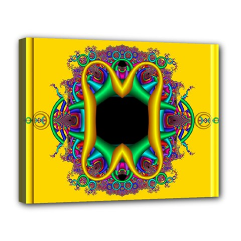 Fractal Rings In 3d Glass Frame Canvas 14  X 11  by Simbadda