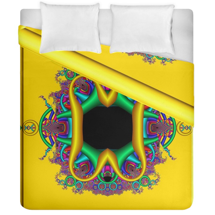 Fractal Rings In 3d Glass Frame Duvet Cover Double Side (California King Size)