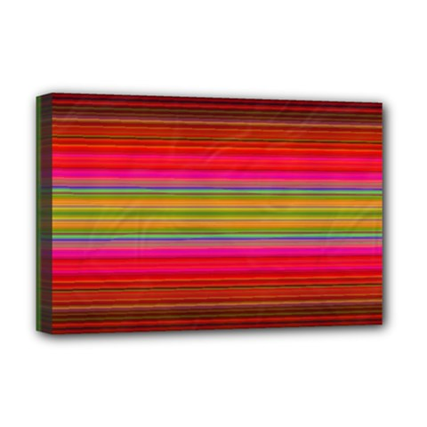 Fiestal Stripe Bright Colorful Neon Stripes Background Deluxe Canvas 18  X 12   by Simbadda
