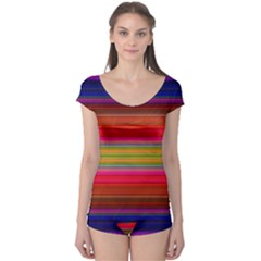 Fiestal Stripe Bright Colorful Neon Stripes Background Boyleg Leotard