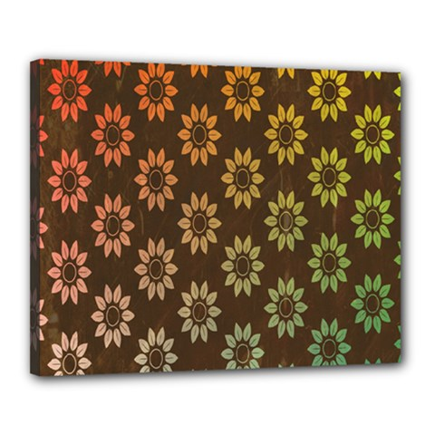 Grunge Brown Flower Background Pattern Canvas 20  X 16  by Simbadda