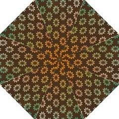 Grunge Brown Flower Background Pattern Folding Umbrellas by Simbadda