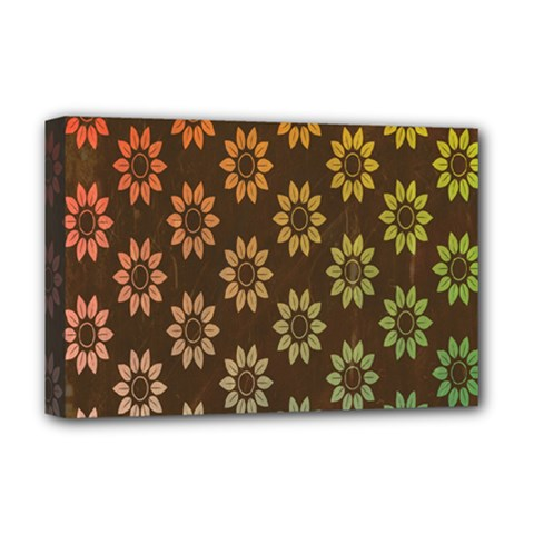 Grunge Brown Flower Background Pattern Deluxe Canvas 18  X 12