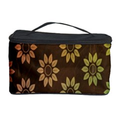 Grunge Brown Flower Background Pattern Cosmetic Storage Case by Simbadda