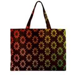 Grunge Brown Flower Background Pattern Zipper Mini Tote Bag by Simbadda