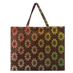 Grunge Brown Flower Background Pattern Zipper Large Tote Bag by Simbadda