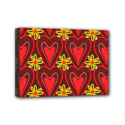 Digitally Created Seamless Love Heart Pattern Tile Mini Canvas 7  X 5  by Simbadda