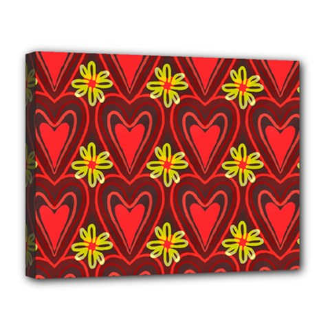 Digitally Created Seamless Love Heart Pattern Tile Canvas 14  X 11  by Simbadda