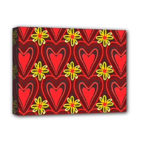 Digitally Created Seamless Love Heart Pattern Tile Deluxe Canvas 16  X 12   by Simbadda