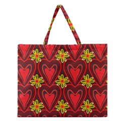 Digitally Created Seamless Love Heart Pattern Tile Zipper Large Tote Bag by Simbadda