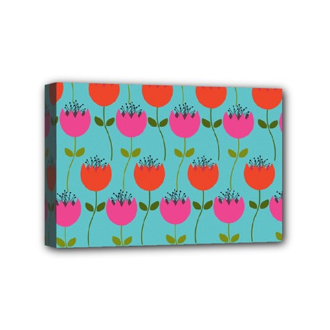 Tulips Floral Background Pattern Mini Canvas 6  X 4  by Simbadda