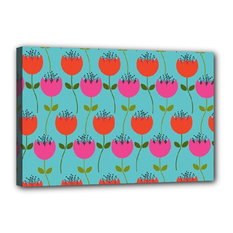 Tulips Floral Background Pattern Canvas 18  X 12  by Simbadda