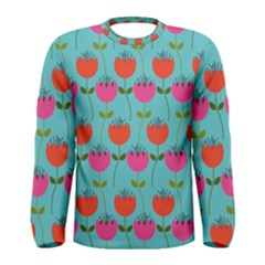 Tulips Floral Background Pattern Men s Long Sleeve Tee
