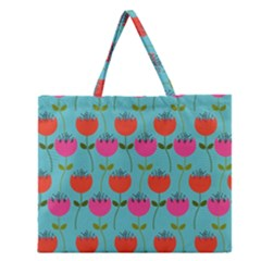 Tulips Floral Background Pattern Zipper Large Tote Bag by Simbadda