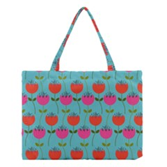 Tulips Floral Background Pattern Medium Tote Bag by Simbadda