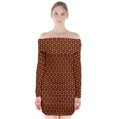 Lunares Pattern Circle Abstract Pattern Background Long Sleeve Off Shoulder Dress by Simbadda