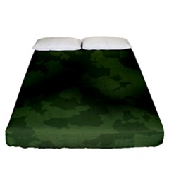 Vintage Camouflage Military Swatch Old Army Background Fitted Sheet (queen Size) by Simbadda