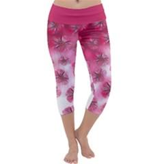 Pink Floral Design  Capri Yoga Leggings