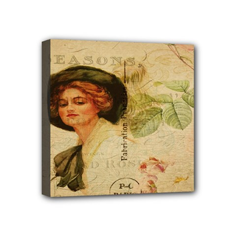 Lady On Vintage Postcard Vintage Floral French Postcard With Face Of Glamorous Woman Illustration Mini Canvas 4  X 4  by Simbadda