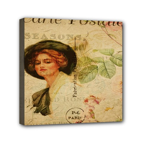 Lady On Vintage Postcard Vintage Floral French Postcard With Face Of Glamorous Woman Illustration Mini Canvas 6  X 6  by Simbadda
