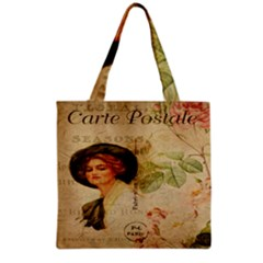 Lady On Vintage Postcard Vintage Floral French Postcard With Face Of Glamorous Woman Illustration Grocery Tote Bag by Simbadda