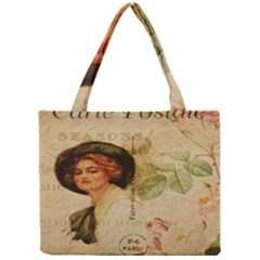Lady On Vintage Postcard Vintage Floral French Postcard With Face Of Glamorous Woman Illustration Mini Tote Bag by Simbadda